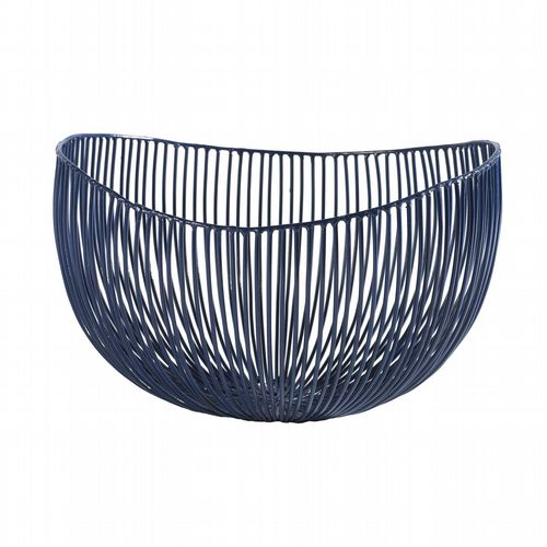 Wire Fruit Basket - Deep Plate Tale - Blue